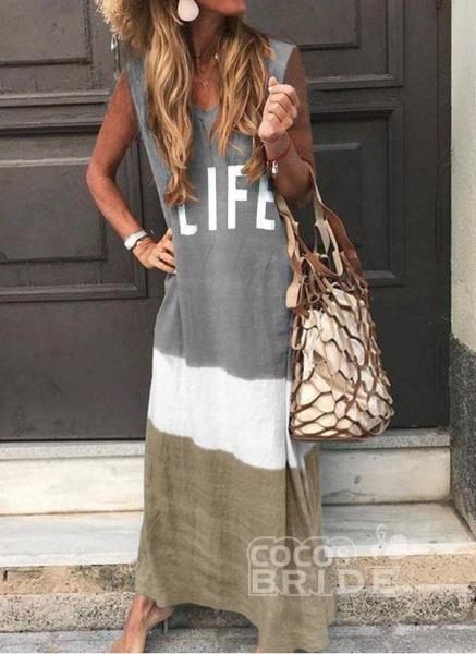 Gray Casual Color Block Tunic V-Neckline Shift Dress_8