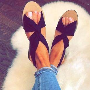Women's Slingbacks Cloth Flat Heel Sandals Flats_3