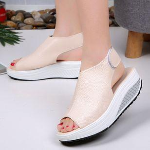 Women's Velcro Peep Toe Flat Heel Sandals_4