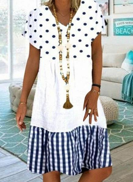 Khaki Plus Size Tunic Polka Dot V-Neckline Casual Knee-Length Plus Dress_2