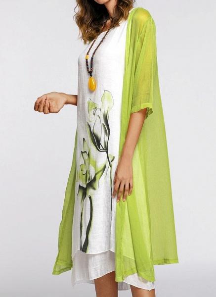 Floral Wrap Round Neckline Midi X-line Dress_3
