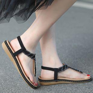 Women's Rhinestone Flip-Flops Flat Heel Sandals_1