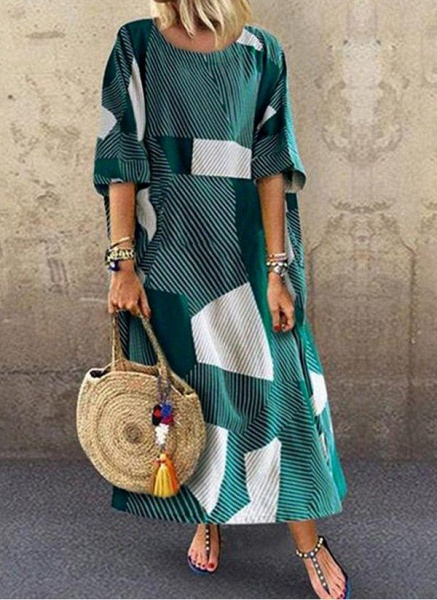 Green Plus Size Color Block Round Neckline Casual Maxi Shift Dress Plus Dress_1