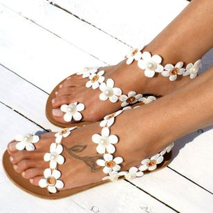 Women's Imitation Pearl Flower Toe Ring Flat Heel Sandals