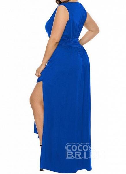 Blue Plus Size Solid V-Neckline Casual Ruffles Maxi Plus Dress_3
