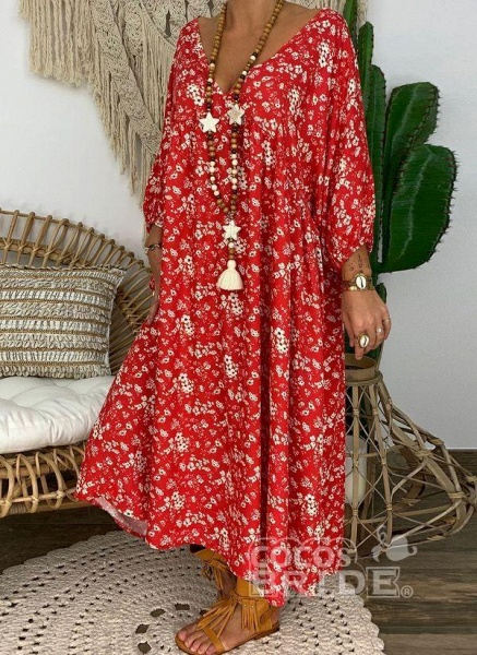 Red Plus Size Tunic Floral V-Neckline Casual Maxi Plus Dress_3