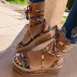 Women's Lace-up Slingbacks Wedge Heel Sandals_1