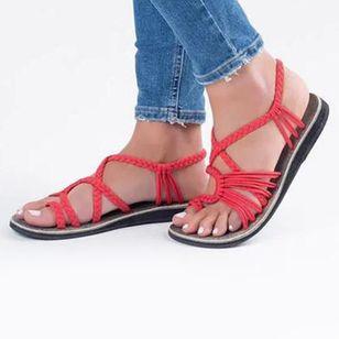 Women's Braided Strap Toe Ring Flat Heel Sandals_4