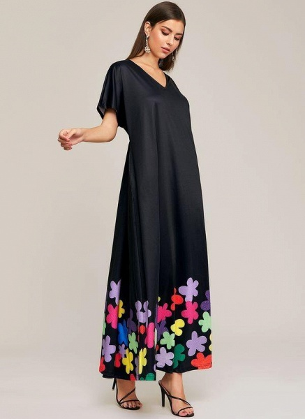 Black Plus Size Color Block V-Neckline Elegant Maxi Shift Dress Plus Dress_1