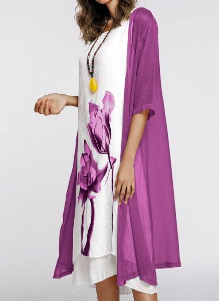 Floral Wrap Round Neckline Midi X-line Dress_16