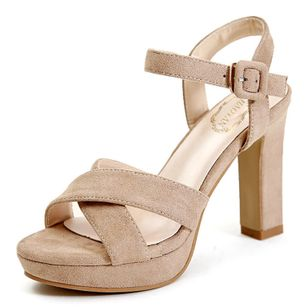 Women's Ankle Strap Heels Nubuck Chunky Heel Sandals_2