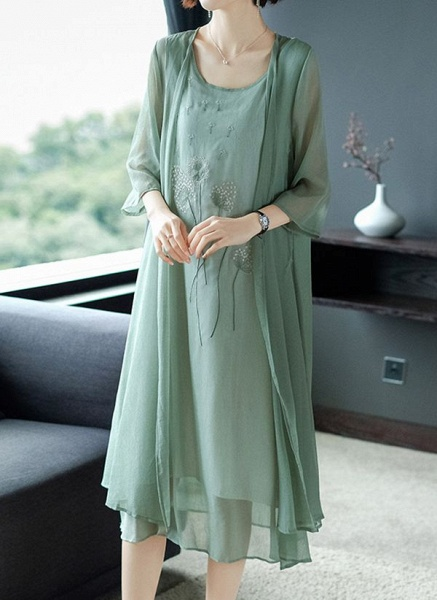 Casual Floral Tunic Round Neckline Shift Dress_3