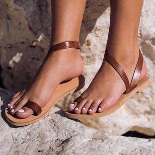 Women's Toe Ring Flat Heel Sandals_1