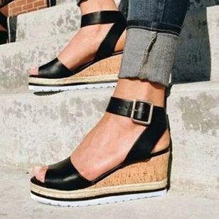 Women's Buckle Modern Wedge Heel Sandals_4