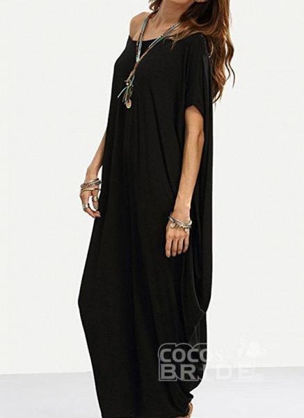 Black Plus Size Tunic Solid Round Neckline Casual Maxi Plus Dress_2