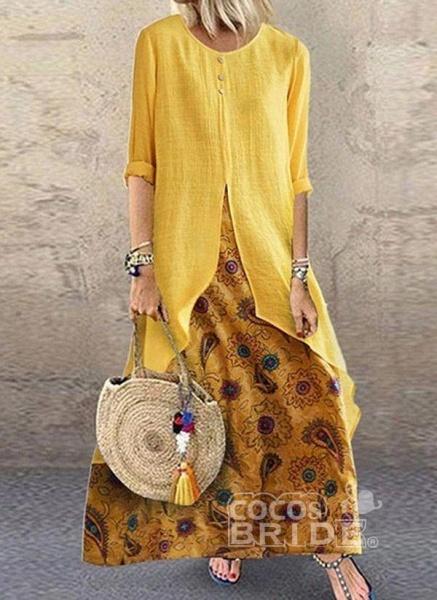 Brown Plus Size Tunic Color Block Round Neckline Casual Buttons Plus Dress_4