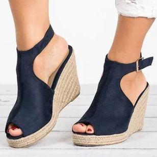 Women's Buckle Peep Toe Heels Nubuck Wedge Heel Sandals_3