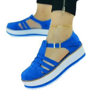 Women's Buckle Hollow-out Round Toe Flat Heel Sandals_2