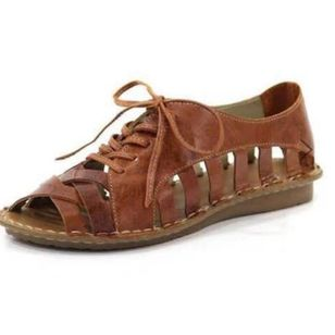 Women's Lace-up Hollow-out Low Top Flat Heel Sandals_1