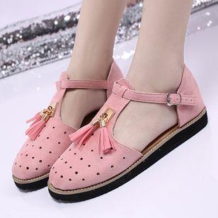 Women's Buckle Tassel Flats Flat Heel Sandals_6