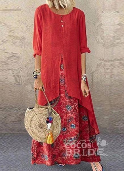 Brown Plus Size Tunic Color Block Round Neckline Casual Buttons Plus Dress_2