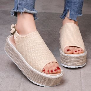 Women's Buckle Round Toe Lace Flat Heel Sandals_2