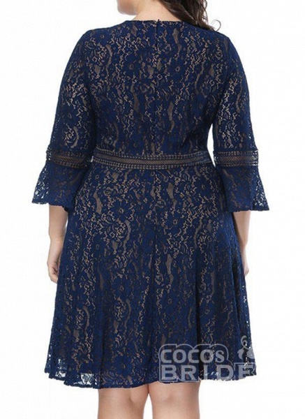 Green Plus Size Skater Solid Round Neckline Casual Lace Plus Dress_5