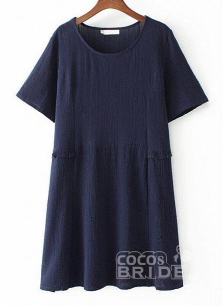 Dark Blue Plus Size Tunic Solid Round Neckline Casual Above Knee Plus Dress_2