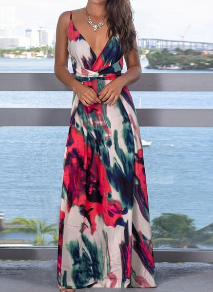 Elegant Floral Wrap Slip X-line Dress_8