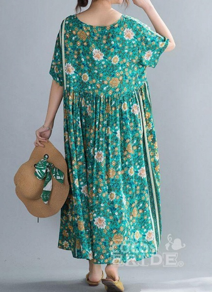 Plus Size Tunic Floral Round Neckline Casual Midi Plus Dress_3