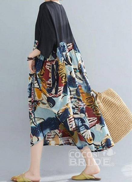 Black Plus Size Tunic Color Block Round Neckline Casual Pockets Plus Dress_2