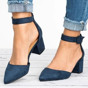 Women's Buckle Ankle Strap Closed Toe Pointed Toe Chunky Heel Sandals_3