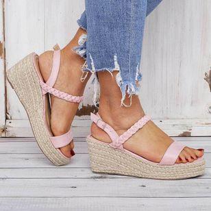 Women's Buckle Slingbacks Cloth Wedge Heel Sandals Platforms_2