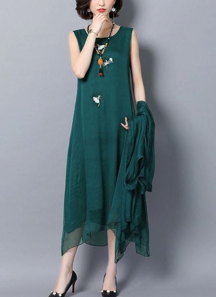 Solid Wrap Round Neckline Maxi Shift Dress_1