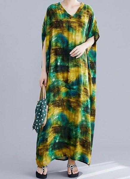Green Plus Size Tunic Color Block V-Neckline Casual Maxi Plus Dress_3