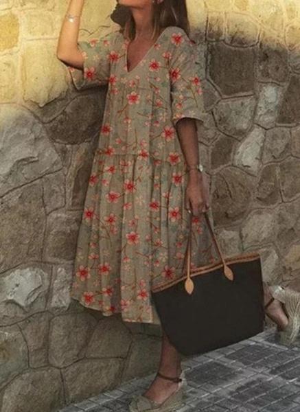 Casual Floral Tunic V-Neckline A-line Dress_3