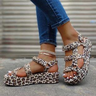 Women's Leopard Heels Low Heel Sandals_4