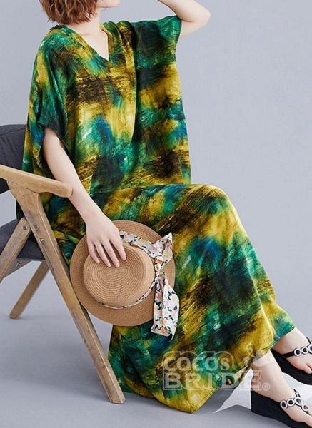 Green Plus Size Tunic Color Block V-Neckline Maxi Plus Dress_3