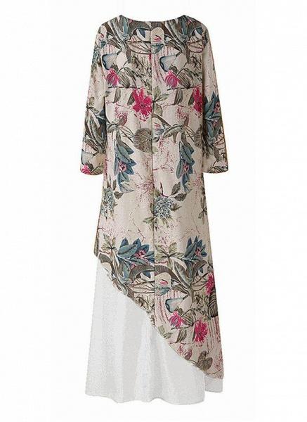 Off-white Plus Size Tunic Floral V-Neckline Casual Maxi Plus Dress_2