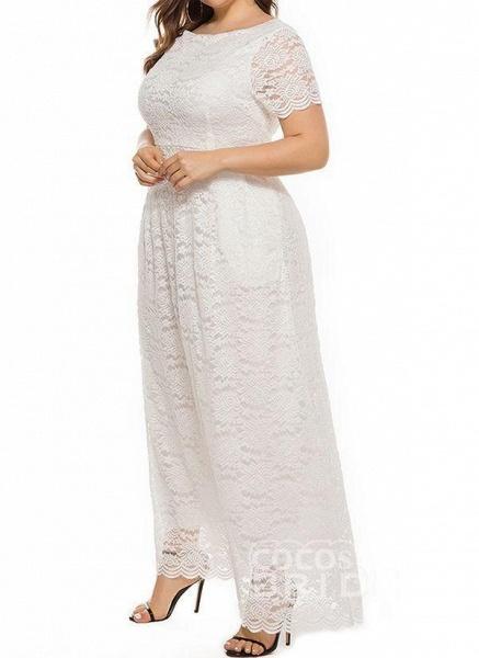 Off-white Plus Size Solid Round Neckline Casual Lace Pockets Maxi Plus Dress_2