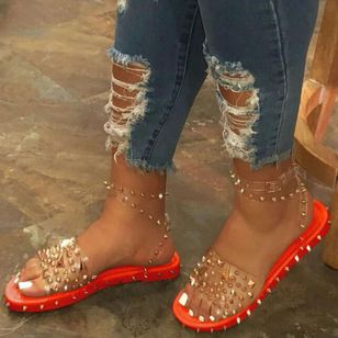 Women's Rivet Buckle Slingbacks Flat Heel Sandals_1