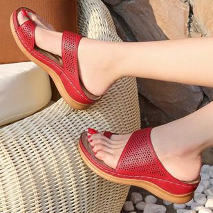 Women's Hollow-out Toe Ring Wedge Heel Sandals_3