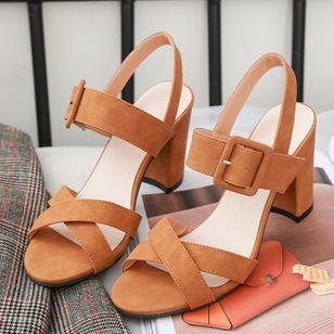 Women's Buckle Heels Nubuck Chunky Heel Sandals_1