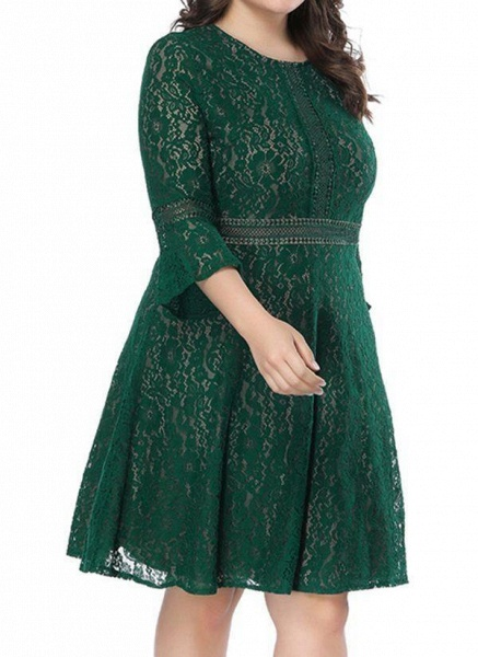 Green Plus Size Skater Solid Round Neckline Casual Lace Plus Dress_1
