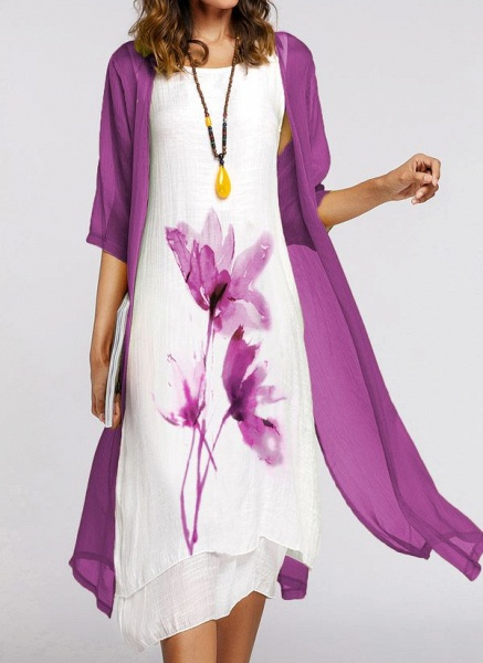 Chinese Style Floral Wrap Round Neckline A-line Dress_1