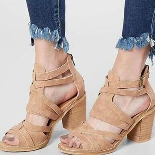 Women's Buckle Zipper Chunky Heel Sandals_1