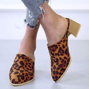 Women's Leopard Pointed Toe Heels Nubuck Chunky Heel Sandals_4