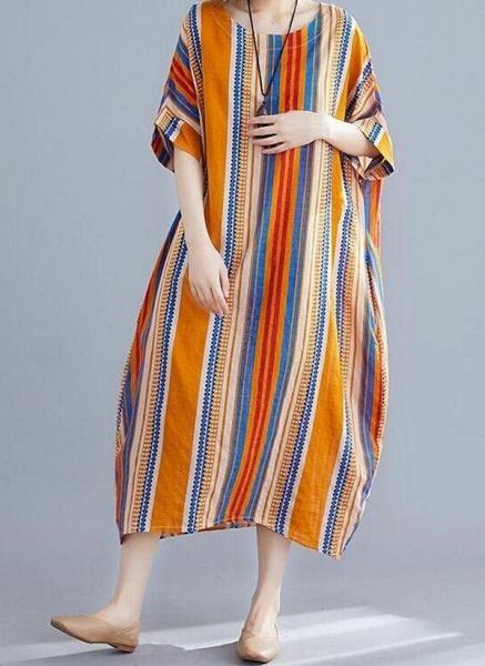 Orange Plus Size Tunic Stripe Round Neckline Casual Midi Plus Dress_1