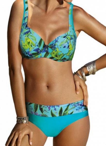 Polyester Pattern Floral Bikinis Swimwear_1