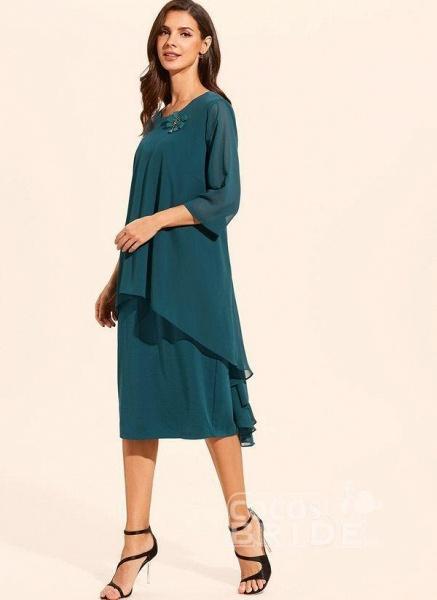 Plus Size Floral Round Neckline Elegant Midi Shift Dress Plus Dress_3